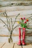 Botas de chuva coloridas com flores da mola e ramos do salgueiro em w Imagem de Stock