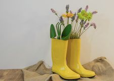Botas de chuva com as flores do equipamento e da mola de jardinagem no fundo do eco do pano de saco foto de stock