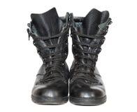 Botas de couro pretas do exército Fotografia de Stock Royalty Free