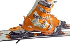 Botas de esqui alpinas em close up obrigatório do esqui Imagem de Stock Royalty Free