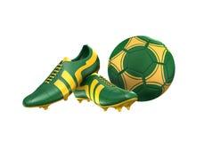 botas de la bola y del fútbol de fútbol 3D Imagen de archivo