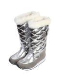 Botas de prata do inverno da menina Fotografia de Stock