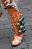 Botas decoradas com os sinos em Equador Imagem de Stock Royalty Free