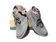 Botas del estilo del desierto con los calcetines del ragg Imagen de archivo libre de regalías