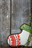 Botas del pan de jengibre de la Navidad foto de archivo