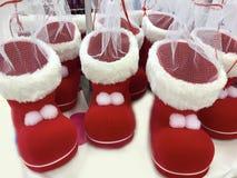 Botas del rojo de la Navidad Fotos de archivo