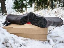 Botas do ugg das mulheres Detalhes, close-up, tempo do inverno e botas mornas foto de stock