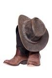 Botas e chapéu de couro de cowboy Fotos de Stock Royalty Free