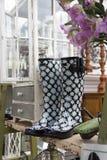 Botas e fontes de jardinagem para a venda. Imagem de Stock Royalty Free
