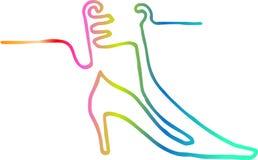 Botas elegantes, a lápis desenho contínuo Imagens de Stock