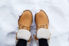 Botas en nieve Fotos de archivo libres de regalías