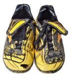 Botas velhas do futebol Foto de Stock Royalty Free