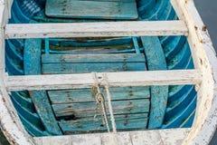 Bote amarrado em pouco porto do porto de Tivat Imagem de Stock