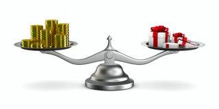 Boîte-cadeau et argent liquide sur l'échelle Photographie stock