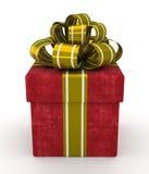 Boîte-cadeau rouge avec l'arc d'or d'isolement sur le fond blanc 2 Photographie stock libre de droits