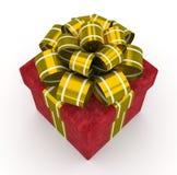 Boîte-cadeau rouge avec l'arc d'or d'isolement sur le fond blanc 4 Images libres de droits