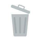 Bote de basura abierto icono plano Imágenes de archivo libres de regalías
