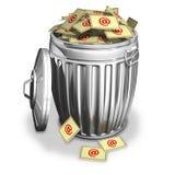 Bote de basura con las cartas stock de ilustración