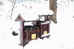 Bote de basura de madera Imágenes de archivo libres de regalías