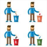 Bote de basura del hombre y Imagen de archivo libre de regalías