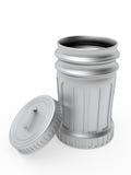 Bote de basura metálico abierto con la tapa Imagen de archivo