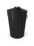 Bote de basura negro Fotografía de archivo libre de regalías