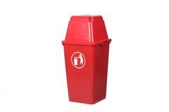 Bote de basura rojo Fotos de archivo libres de regalías