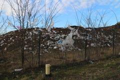 Bote de la basura cerca de Stupava Imagenes de archivo