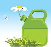 Bote de la gasolina con la manzanilla Concepto de Eco Imagen de archivo