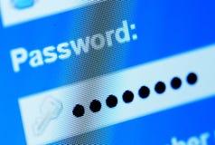 Boîte de mot de passe en navigateur Internet Images libres de droits