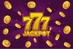 BOTE del logotipo y 777 icono de oro, monedas de oro de la explosión en el fondo violeta Fondo del casino de la bandera Imagenes de archivo