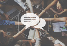 Bote-Discussion Community Technology-Grafik-Konzept stockfoto