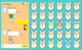 Bote-Dog Stickers Emoticons-Satz, Webseite stock abbildung