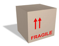 Boîte en carton avec le contenu fragile Photo stock