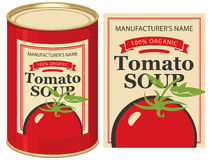 Boîte en fer blanc avec la soupe à tomate de label Photo libre de droits