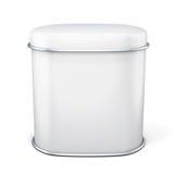 Boîte en fer blanc blanche pour le thé sur le fond blanc Photographie stock libre de droits
