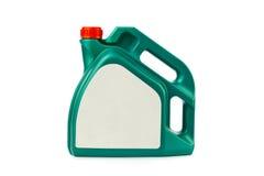 Boîte métallique en plastique pour l'huile de moteur Photographie stock libre de droits