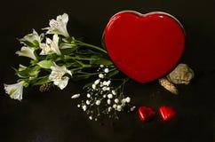 Boîte rouge sous forme de coeur, bouquet des fleurs blanches et chocolats Photo libre de droits
