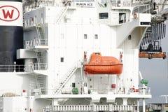 bote salvavidas de 25 personas a bordo del BUNUN ACE Foto de archivo libre de regalías
