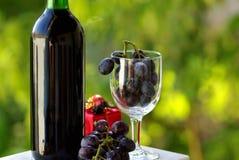 Botella adornada de vino rojo Fotos de archivo