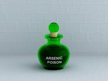 Botella arsénica del veneno con la pared blanca Imagenes de archivo
