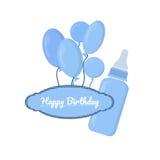 Botella azul con las ranuras y etiqueta en el fondo blanco Fotos de archivo libres de regalías