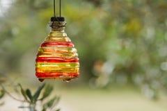 Botella coloreada colgada Foto de archivo libre de regalías