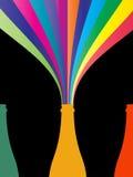 Botella colorida de Champán ilustración del vector