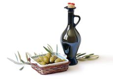 Botella con aceite de oliva Imágenes de archivo libres de regalías