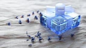 Botella con bebidas espirituosas con un olor de la lavanda Fotos de archivo