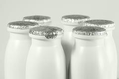 Botella con el casquillo de la hoja con el yogur Foto de archivo libre de regalías