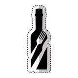 Botella con el icono de la herramienta de los cubiertos Fotos de archivo libres de regalías
