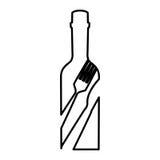 Botella con el icono de la herramienta de los cubiertos Fotos de archivo