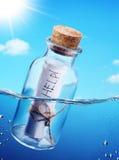 Botella con el mensaje de la ayuda. Foto de archivo libre de regalías